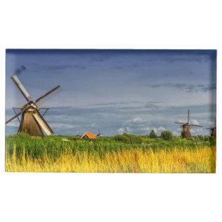 Windmills in Kinderdijk, Holland, Netherlands Table Card Holder