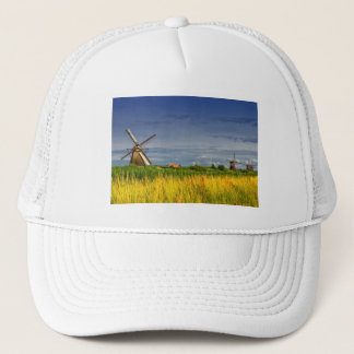Windmills in Kinderdijk, Holland, Netherlands Trucker Hat