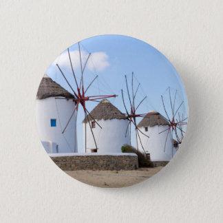 Windmills in Mykonos 2 Inch Round Button