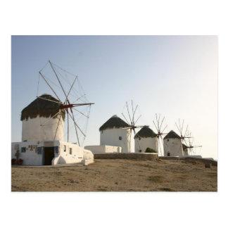 Windmills in Mykonos Postcard