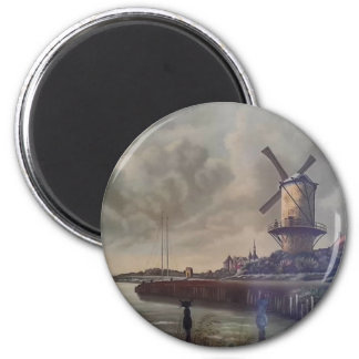 Windmills Meow 2 Inch Round Magnet