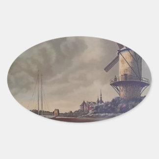 Windmills Meow Oval Sticker