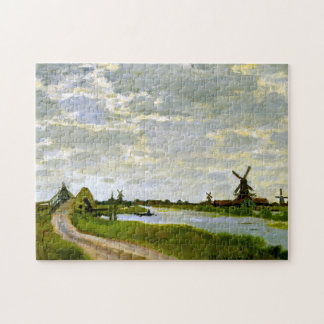 Windmills Near Zaandam Monet Fine Art Jigsaw Puzzle