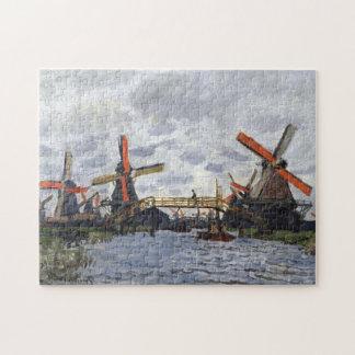 Windmills near Zaandam Monet Fine Art Jigsaw Puzzle