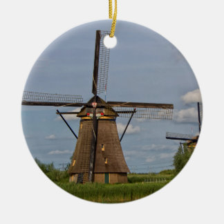 windmills of Kinderdijk world heritage site Ceramic Ornament