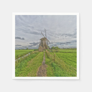 windmills of Kinderdijk world heritage site Paper Napkin