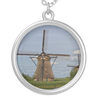 windmills of Kinderdijk world heritage site Silver Plated Necklace