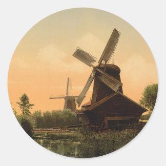 Windmills on the Noordendijk, Netherlands Classic Round Sticker