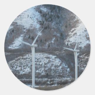 windmills round sticker