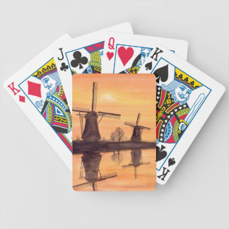 Windmills Sunset - Watercolor Painting Bicycle Playing Cards