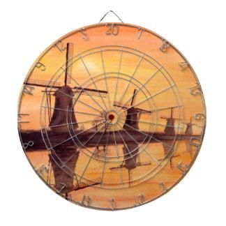 Windmills Sunset - Watercolor Painting Dartboard