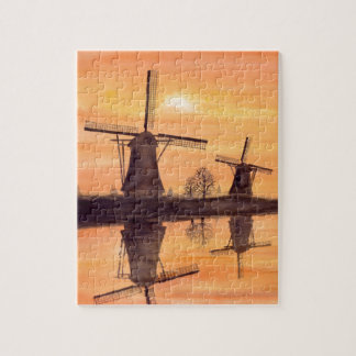 Windmills Sunset - Watercolor Painting Jigsaw Puzzle