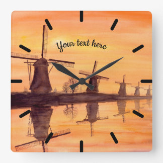Windmills Sunset - Watercolor Painting Square Wall Clock