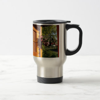 Window and Flower Basket Travel Mug
