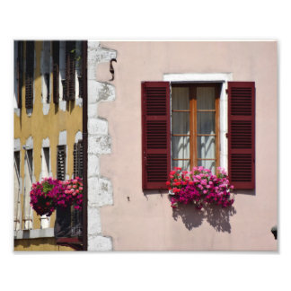 Window and flower box in historic Annecy, France Photo Print