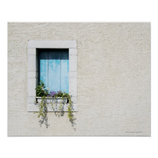 Window and window-box of flowers in plain wall poster