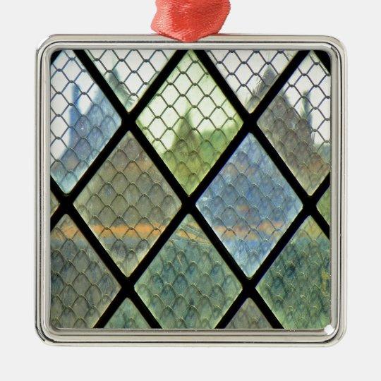 Window Art Silver-Colored Square Ornament