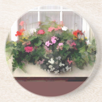 Window Box Flowers Coaster