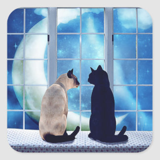 Window Cats Square Sticker