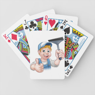 Window Cleaner Holding Squeegee Bicycle Playing Cards