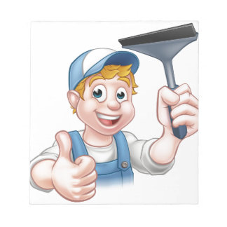 Window Cleaner Holding Squeegee Notepads