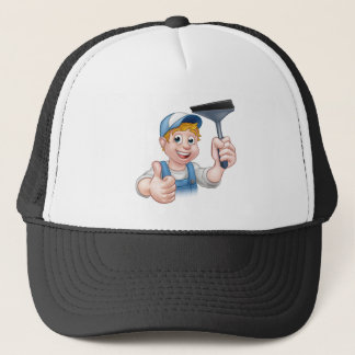 Window Cleaner Holding Squeegee Trucker Hat