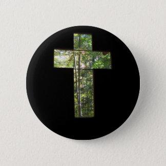 Window Cross 2 Inch Round Button