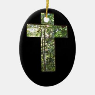 Window Cross Ceramic Ornament