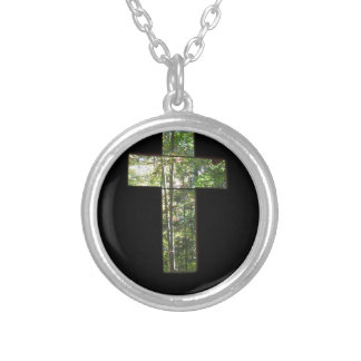 Window Cross Silver Plated Necklace