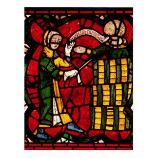 Window depicting a barrel seller, c.1300 postcard