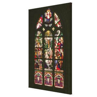Window depicting the baptism of Christ, 1490 Canvas Print