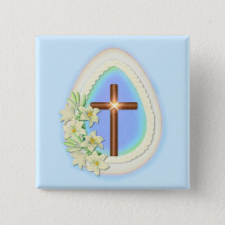 Window Egg and Cross 2 Inch Square Button