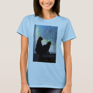 Window Gazing Kitties Oil T-Shirt