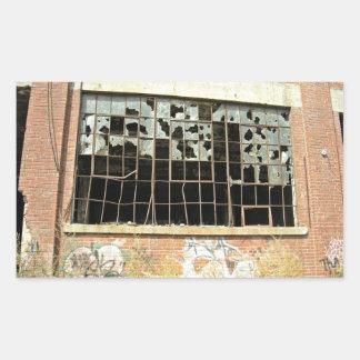 Window In Brick House with Broken Glass Sticker