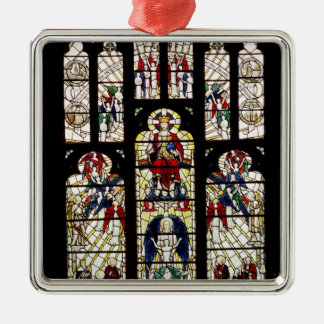 Window in Worcester Cathedral, 15th century Silver-Colored Square Ornament