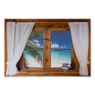 Window Ocean Beach Tropical Faux View Poster