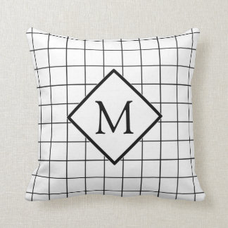 Window Pane Check Pattern Monogram Pillow