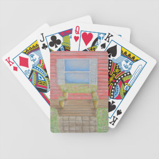 window porch bicycle playing cards