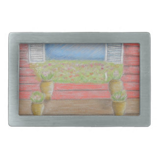 window porch rectangular belt buckle