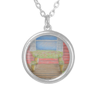 window porch silver plated necklace