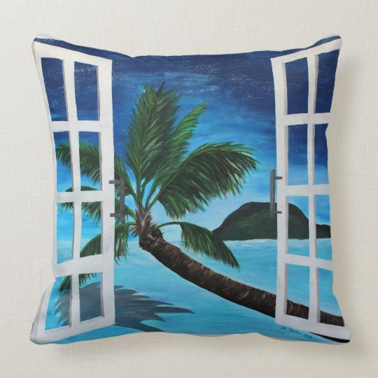 Window to Paradise Beach & Antigua pillow