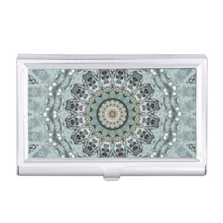 Window to the World Grey and Aqua Mandala Business Card Holder