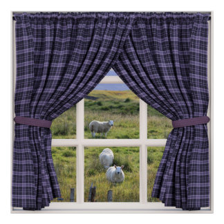 Window View with Sheep and Peaceful Scenery Poster