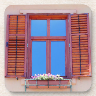 Window With Wooden Shutters Coaster