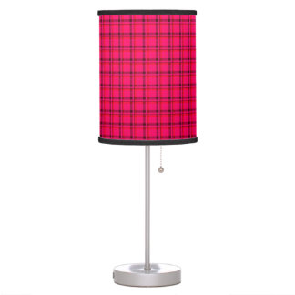 Windowpane Plaid Shades of Red Desk Lamps