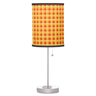 Windowpane Plaid Shades of Red & Yellow Table Lamps
