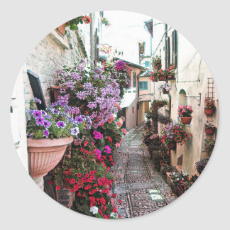 Windows, balcony and flower alleys in Spello Classic Round Sticker