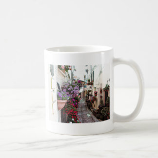 Windows, balcony and flower alleys in Spello Coffee Mug