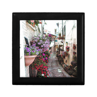Windows, balcony and flower alleys in Spello Keepsake Box