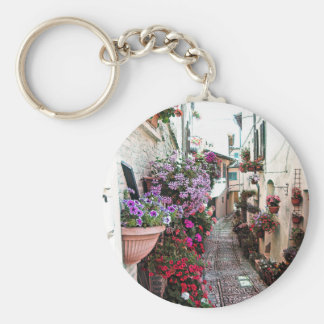 Windows, balcony and flower alleys in Spello Keychain
